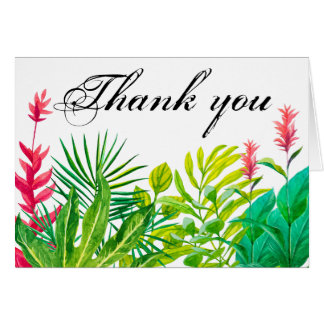 Green and Red Leaves Thank You Small Notecard