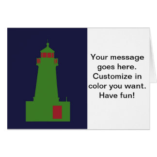 Green and Red Lighthouse. Card