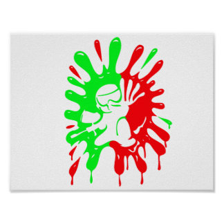 Green and Red Paintball Splatter and Mascot Poster