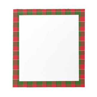 Green And Red Plaid Pattern Notepad
