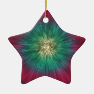 Green And Red Starburst Ceramic Star Ornament