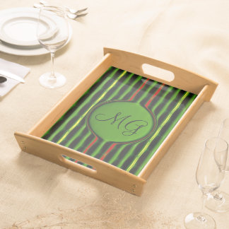Green and Red Stripes Serving Tray