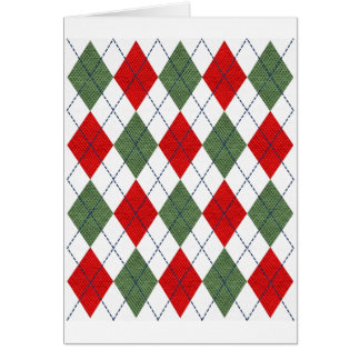 Green and Red Sweater Argyle Card