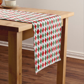Green and Red Sweater Argyle Short Table Runner