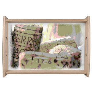 Green and Red Toned Wine Corks Serving Tray