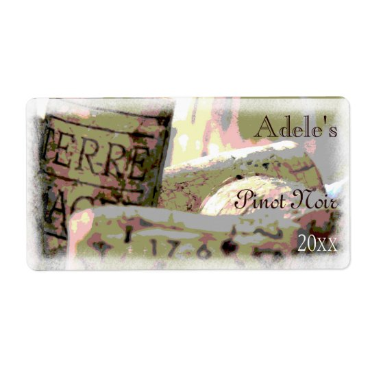 Green and Red Toned Wine Corks Wine Bottle Labels