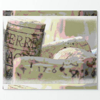 Green and Red Toned Wine Corks Wrapping Paper