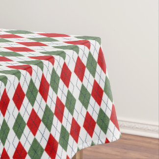 Green and Red Ugly Sweater Argyle Tablecloth