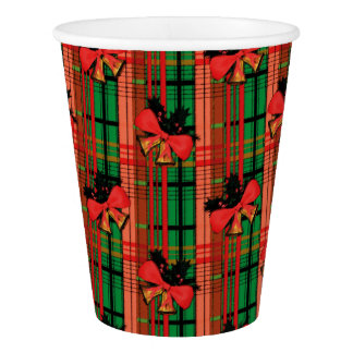 green and red xmas bells plaid pattern paper cup
