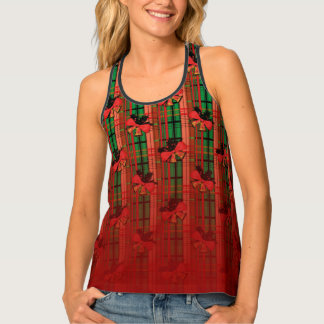 green and red xmas bells plaid pattern tank top