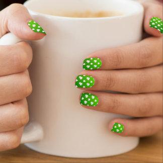 Green and Shamrock Pattern Minx Nail Art