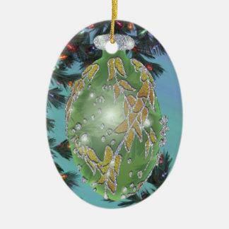Green and Silver Glass Bulb Ceramic Ornament