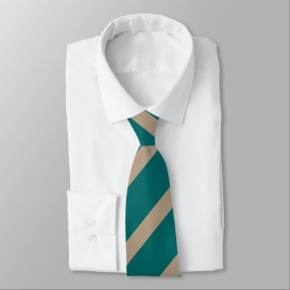 Green and taupe wide stripe pattern tie