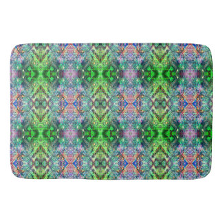Green And Teal Abstract Pattern Bath Mat