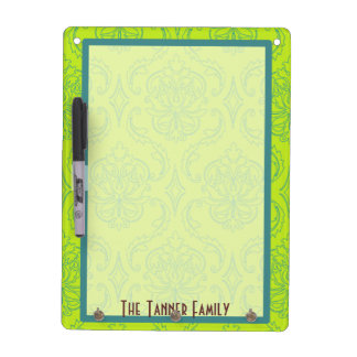 Green and Teal Damask Dry Erase Board