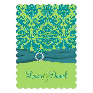 Green and Turquoise Damask Wedding Invitation
