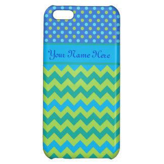 Green and Turquoise Polka Dots and Chevrons iPhone 5C Case