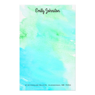 Green and Turquoise Watercolor Custom Stationery