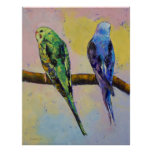 Green and Violet Budgies Print
