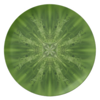 Green and white abstract flower plate