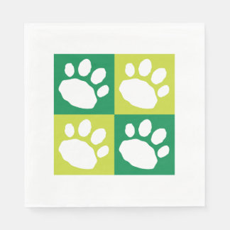 Green and White Animal Print Silhouette Paper Napkins