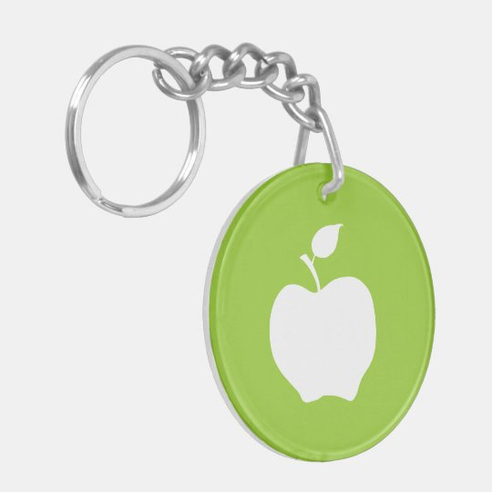 Green and White Apple Double-Sided Round Acrylic Keychain