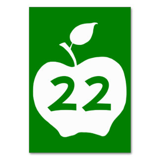 Green and White Apple Numbered Card