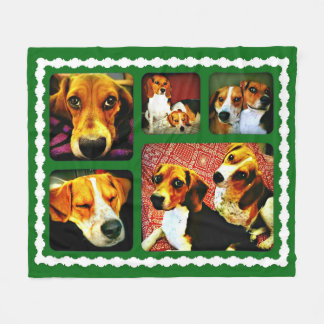 Green and white Blanket with Dogs