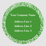 Green and White Business Address Lables Round Sticker