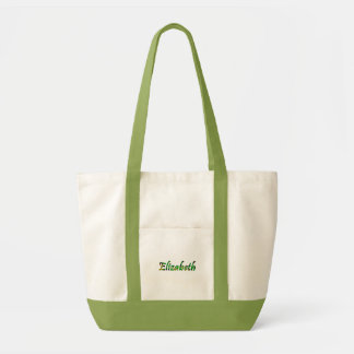Green and White Canvas tote bag of Elizabeth