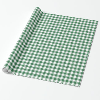 Green and White Check Gingham Wrapping Paper