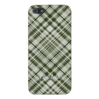 green and white checked diagonal tartan plaid cover for iPhone 5/5S