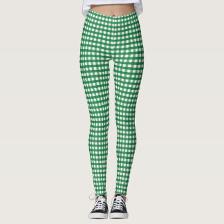 Green and white checker pattern leggings