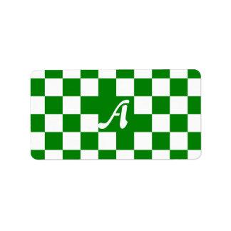Green and White Checkered Monogram