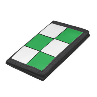 Green and White Checkered Tri-fold Wallet