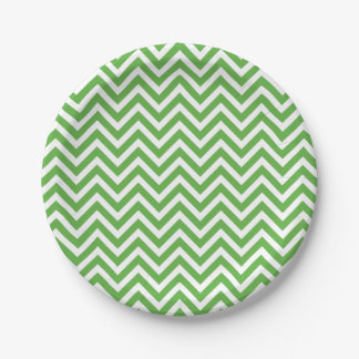 Green and White Chevron 7 Inch Paper Plate