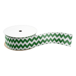 Green and White Chevron Grosgrain Ribbon