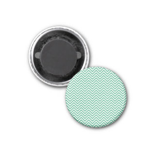 Green and white chevron pattern 1 inch round magnet