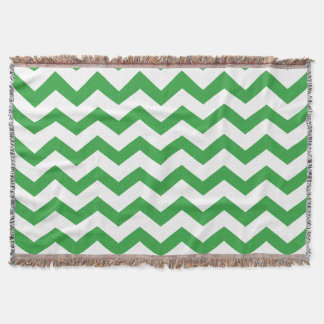 Green and White Chevrons Throw