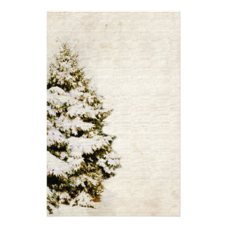 Green and White Christmas Snowflakes Stationery