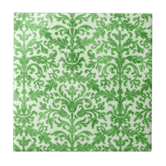 Green and White Damask Wallpaper Pattern Tile