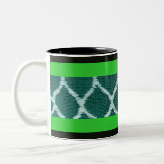 Green and White Design Two-Tone Mug