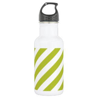 Green and White Diagonal Stripes Pattern 532 Ml Water Bottle