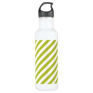Green and White Diagonal Stripes Pattern 710 Ml Water Bottle