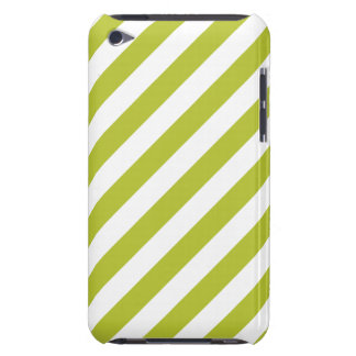 Green and White Diagonal Stripes Pattern Barely There iPod Cases