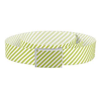 Green and White Diagonal Stripes Pattern Belt