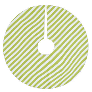 Green and White Diagonal Stripes Pattern Brushed Polyester Tree Skirt