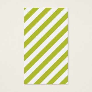 Green and White Diagonal Stripes Pattern Business Card