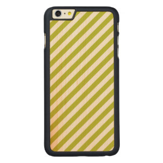 Green and White Diagonal Stripes Pattern Carved Maple iPhone 6 Plus Case