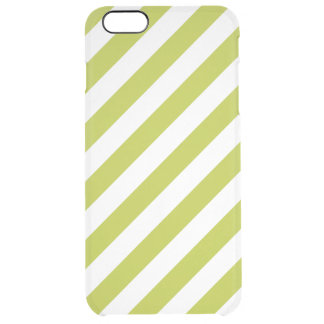 Green and White Diagonal Stripes Pattern Clear iPhone 6 Plus Case